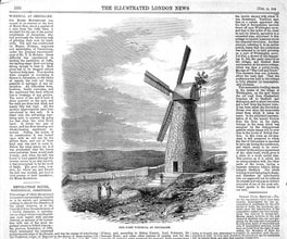 A picture and an article about the newly constructed Jerusalem windmill in The Illustrated London News